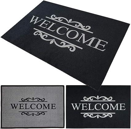 Fußmatte Welcome schwarz 40 x 60 cm Fußabtreter Schmutzmatte Schmutzfangmatte