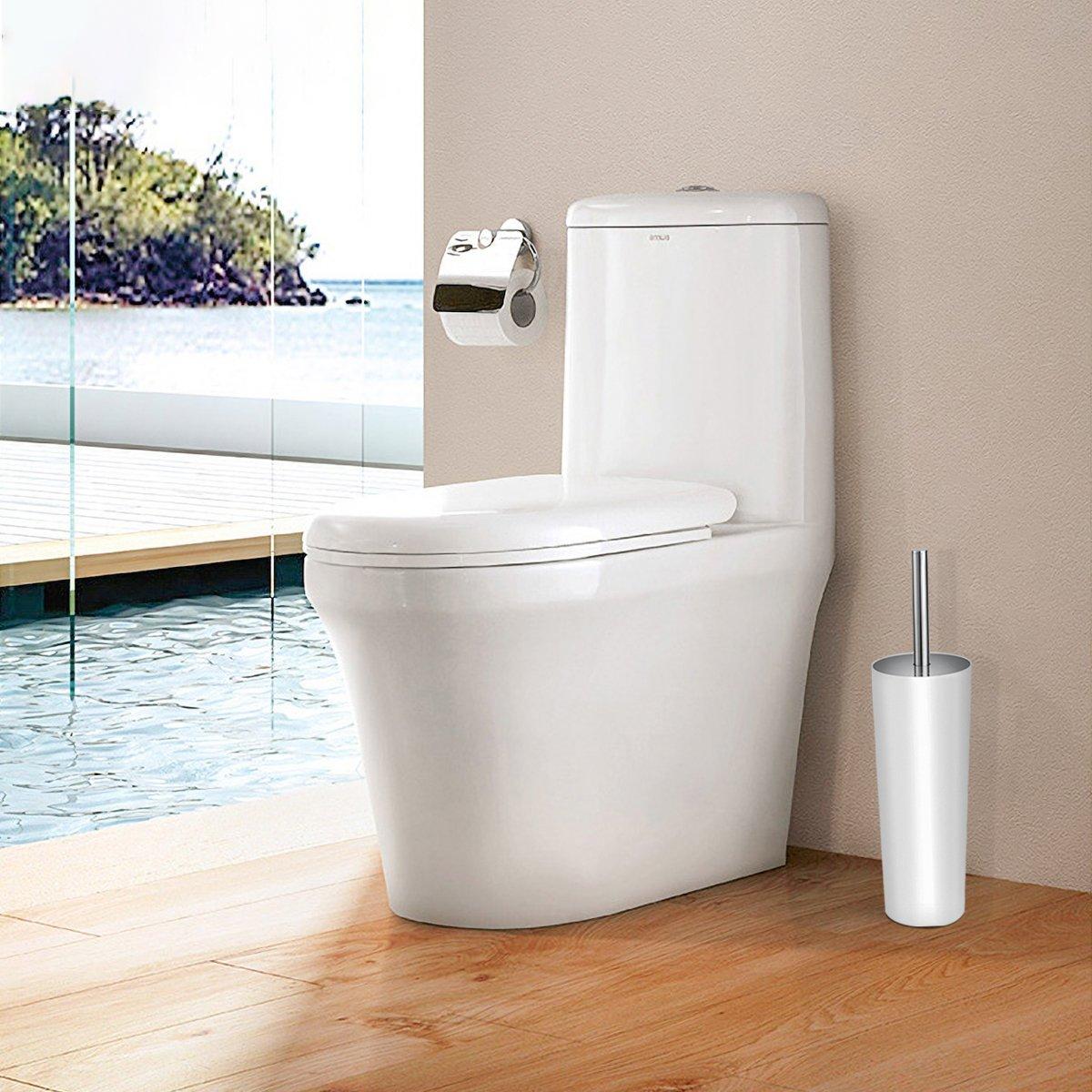 OUNONA Toilet Brush and Holder Set Good Grip Compact Toilet Bowl Cleaner Bath Scrubber Set White