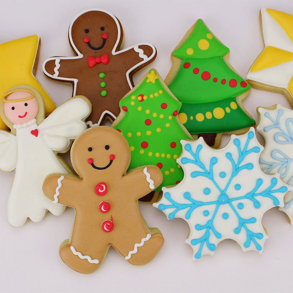 Christmas / Holiday Cookie Cutter Set - 5 Piece - Snowflake, Star, Christmas Tree, Gingerbread Man and Angel - Ann Clark Cookie Cutters - US Tin Plated Steel by Ann Clark Cookie Cutters (Image #2)