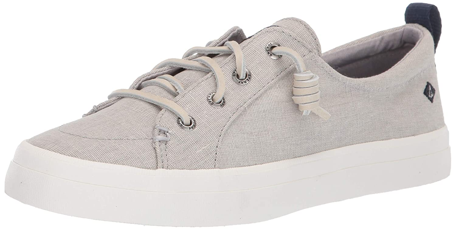 Grey Sperry Womens Crest Vibe Washed Linen Fashion Sneakers