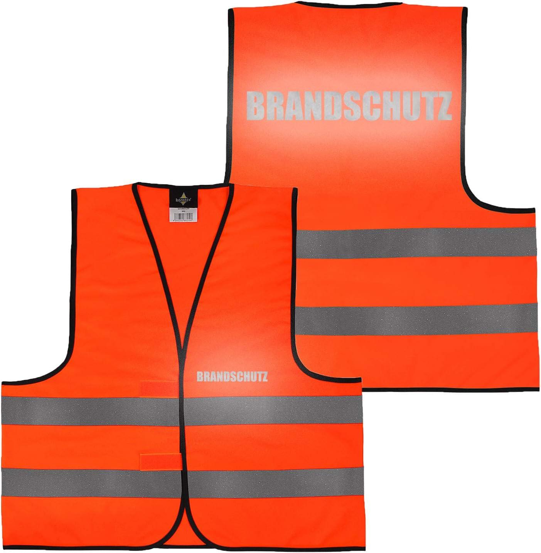 Warnweste Gelb Orange Gelb XL Security gro/ße Auswahl Motive Aufdrucke 001 Einsatzleiter beidseitig bedruckt auf Brust und R/ücken Reflex mit Ordner