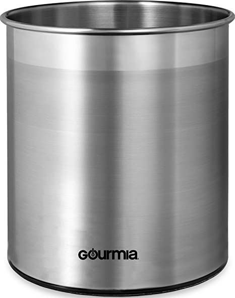 Gourmia GCH9345 Rotating Kitchen Utensil Holder – Spinning Stainless Steel  Organizer to Store Cooking and Serving Tools - Dishwasher Safe, Non Slip ...