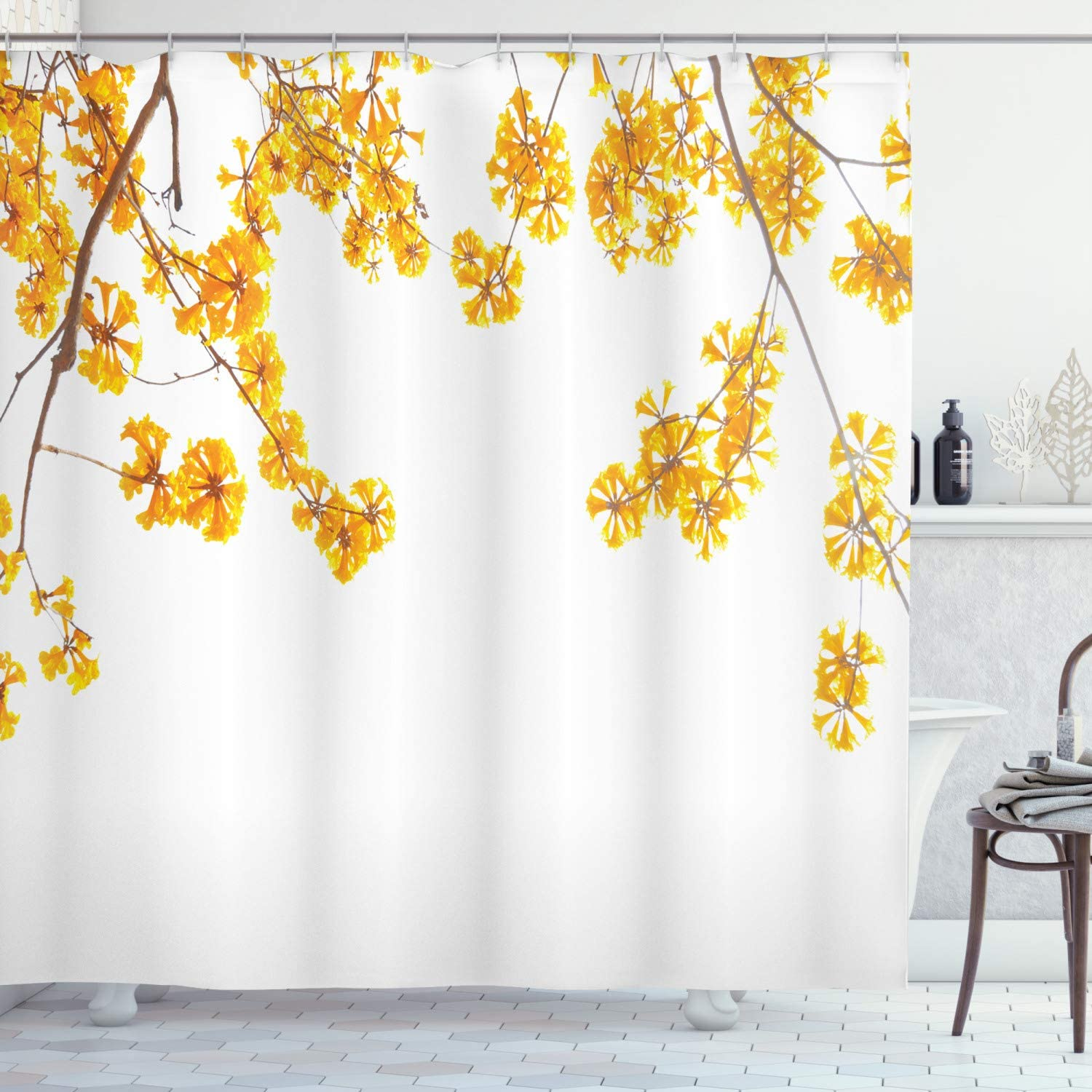 "Ambesonne Yellow Shower Curtain, Flower Tree Branches Bloom Blossoming in Spring Garden Sun Rays Nature Theme Home, Cloth Fabric Bathroom Decor Set with Hooks, 75"" Long, Yellow Brown"