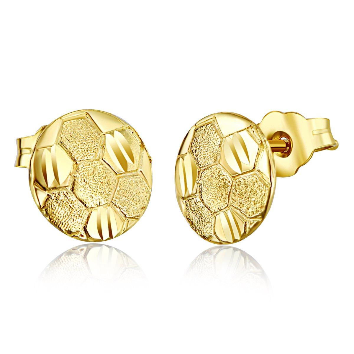 8mm Diameter Wellingsale Ladies 14k Yellow Gold Polished Soccer Ball Stud Earrings