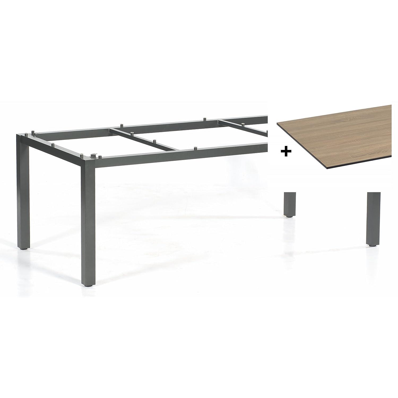 Sonnenpartner Tisch Base Gestell Alu anthrazit Platte HPL eiche sägerau 200x100