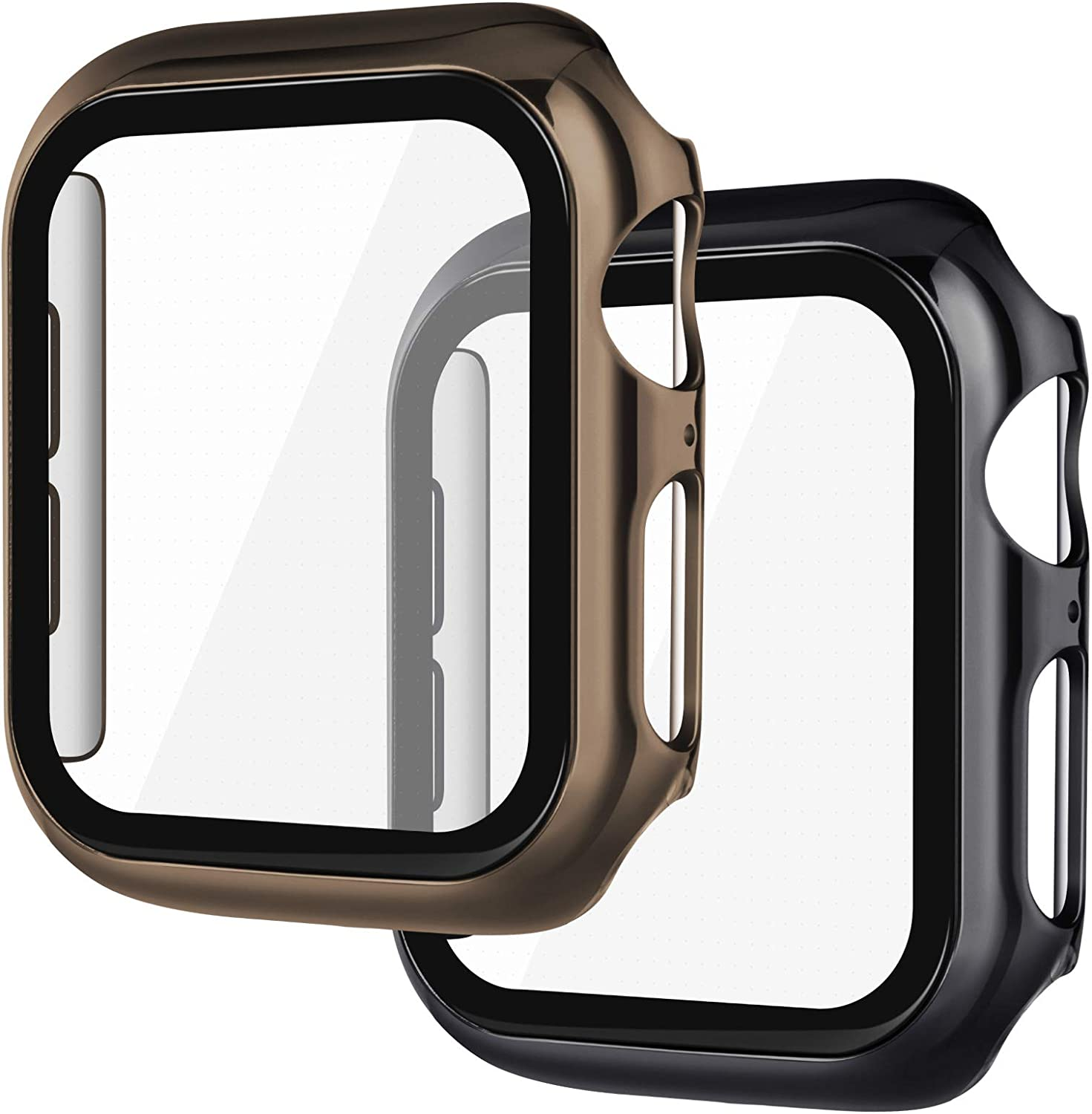KADES Compatible for Apple Watch Cases 38mm with Screen Protector Full Coverage Hard Cover Defense Edge for iWatch SE Series 6 5 4 3 2 1 (38mm, 2-Pack, Black/Gold)