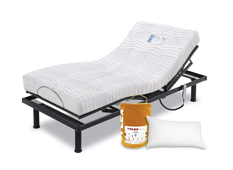 Flex Pack SOMIER ARTICULADO SOMIFLEX A4 con Patas+COLCHON TEKNIA VISCO+Almohada 105x200: Amazon.es: Hogar