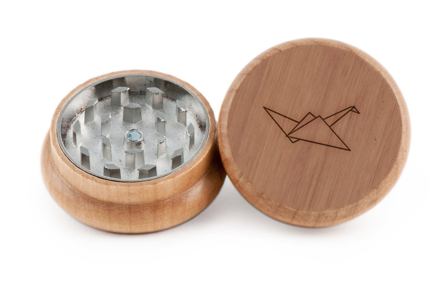 GRINDCANDY Spice And Herb Grinder - Laser Etched Paper Crane Design - Manual Oak Pepper Grinder