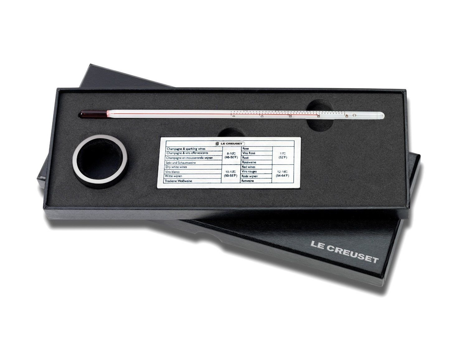 Le Creuset Screwpull Wine Thermometer & Wine Collar Drip Ring Gift Set
