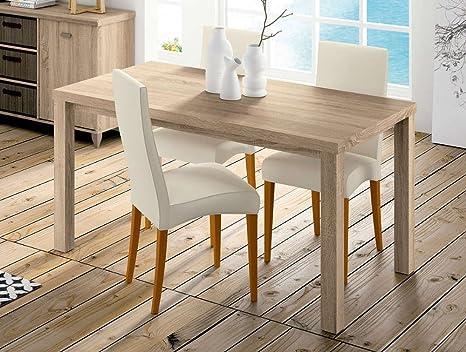 Mesa fija en color roble de 152x82 cm. para comedor o salón