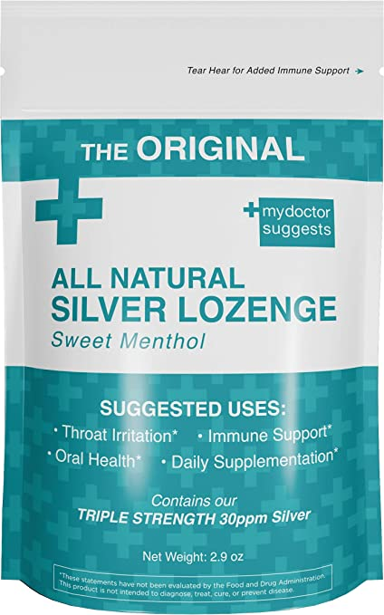 Original All Natural Silver Throat Lozenges - Sweet Menthol: The Perfect Cough Drop for Cough, Throat & Mouth Health - Contains 30ppm Silver Solution in Each Drop - Silver Lozenge