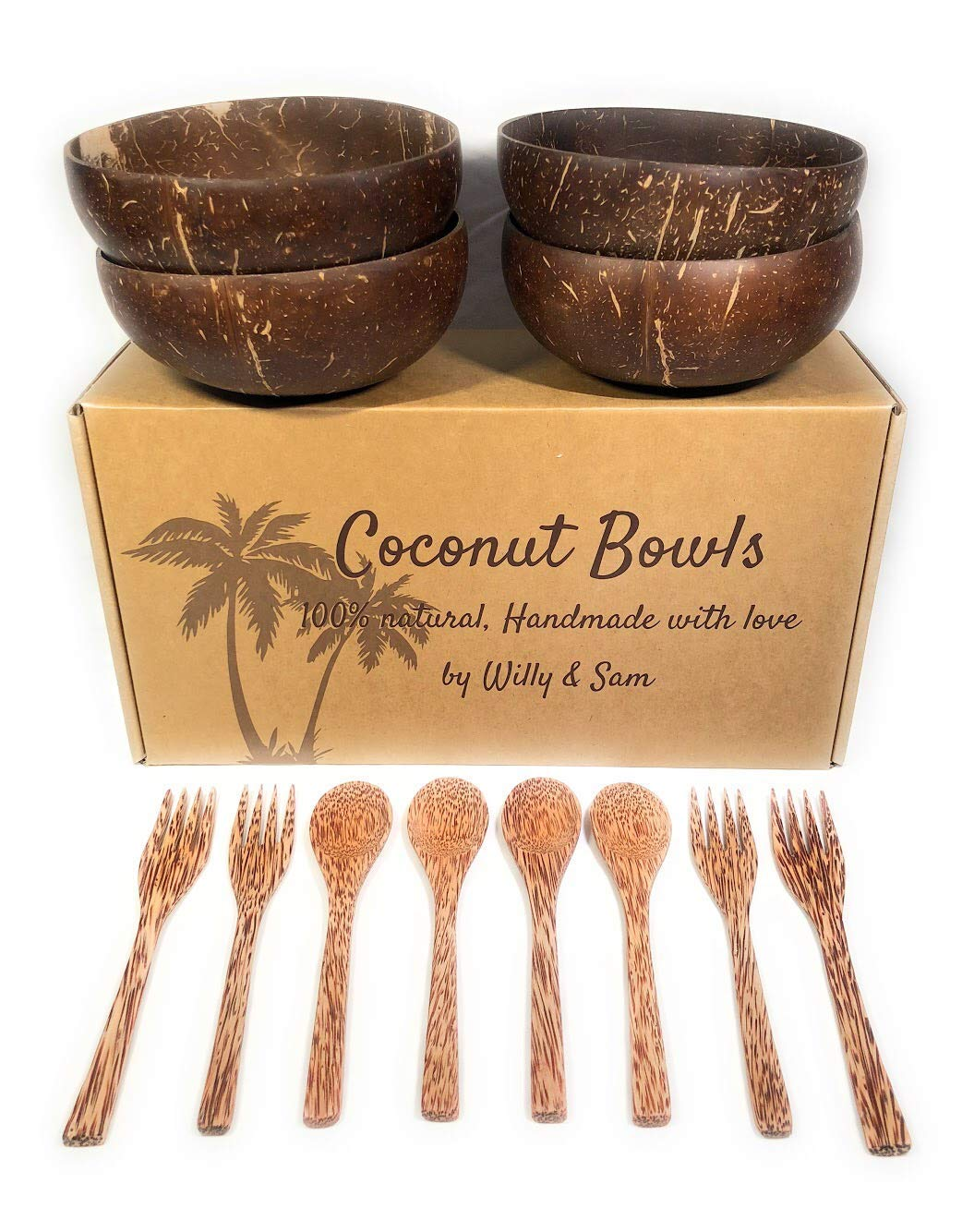 Coconut Bowl, spoon and fork 100% natural. Includes 4 Coconut Bowls, 4 Spoons and 4 Forks | Handmade with love | Ideal for making organic Breakfast, Smoothie, Salad or Buddha Bowl. Perfect Gift