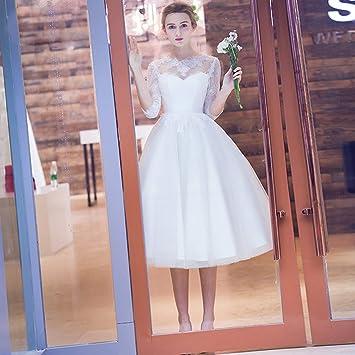 Amazon.com: WZCXYX Vestido de novia blanco, elegante vestido ...