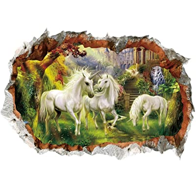 Yuaja 3D Wall Stickers Decals Floor Sticker Lifelike White Horse with Forest - Removable Wall Mural Decals for Kids Bedroom Ceiling Living Room: Baby