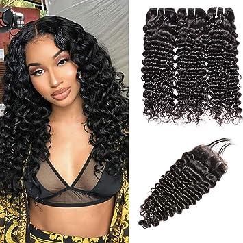 2391e2d8f Brazilian Virgin Curly Hair 3 Bundles with Lace Closure Free Part 100%  Unprocessed Brazilian Deep
