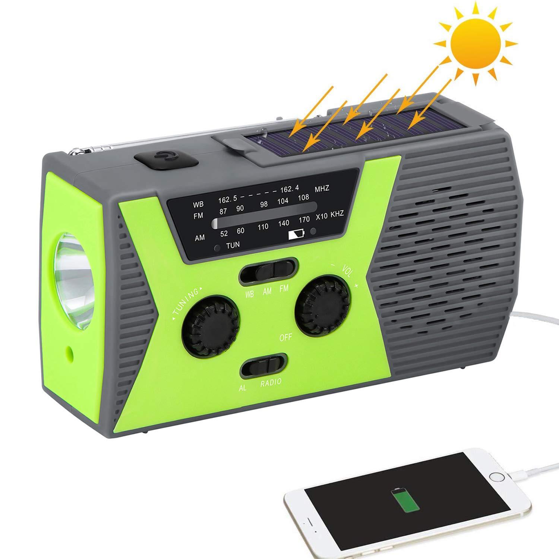 Houkiper Solar Emergency NOAA Weather Radios with AM/FM, Waterproof Hand Crank/USB Charging/Battery Backup Radio, 2000mAh Power Bank,LED Flashlight, SOS Alarm for Camping Outdoor Survival