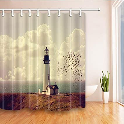 Shower Curtain 69 X 70 Inch Waterproof Polyester Fabric Mildew Resistant Antibacterial Home Bathroom Decoration Accessories