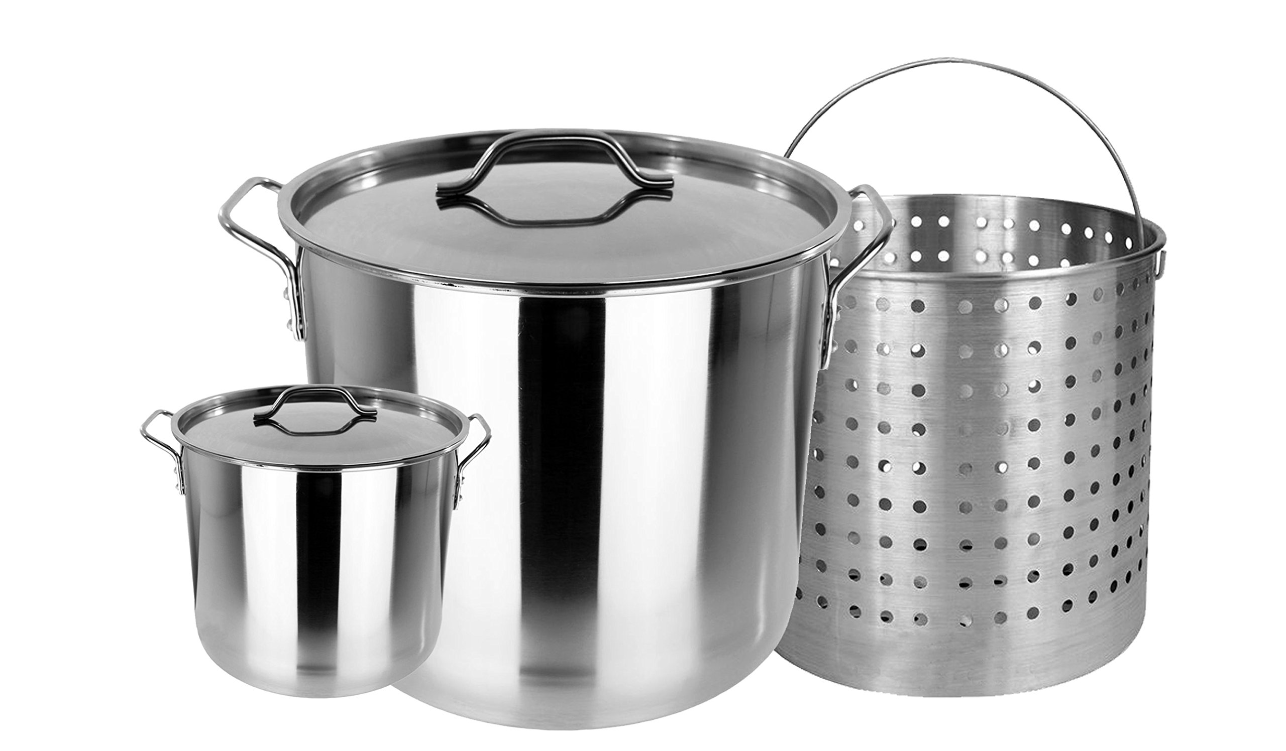 Bioexcel XXL Stainless Steel Boil Pot with Steamer Basket & Lid 53/80 Quart + Free 10 QT Stainless steel Stock Pot with Lid. This one is 80 QT