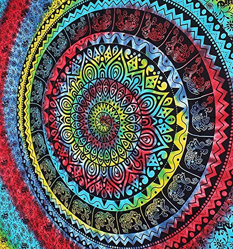 The Indian Craft Psychedelic Mandala Tapestry Bohemian Elephant Hanging Tie Dye Tapestries Hippie Wall Decor Twin Size Bedding Pure Cotton Home Decorative Table Cloth Cover Option -