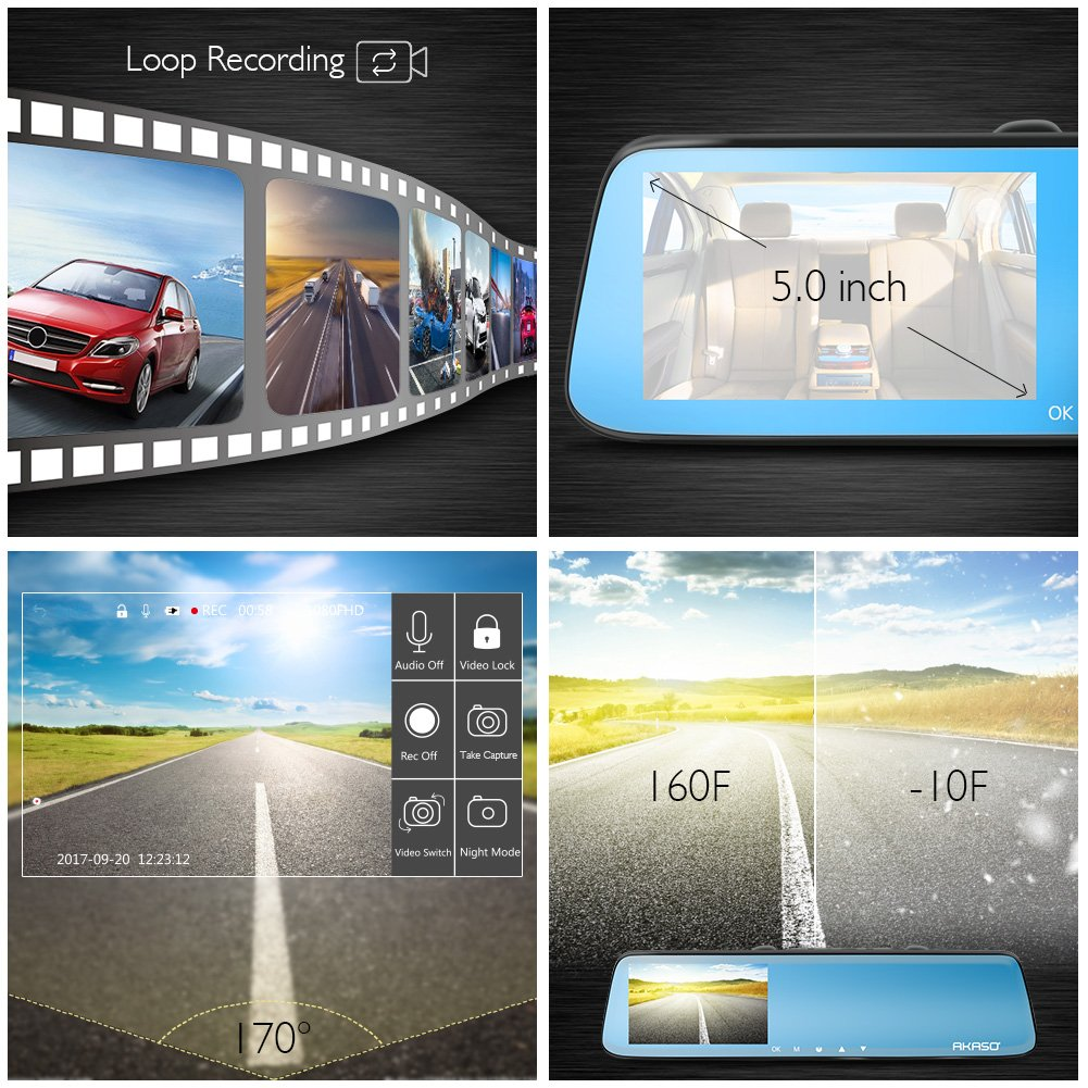 AKASO Mirror Dash Cam 1080P 5 Inch Touch Screen Dash Camera Front and Rear Dashcam with G-Sensor, Night Vision, Reversing Camera, Parking Monitor by AKASO (Image #6)