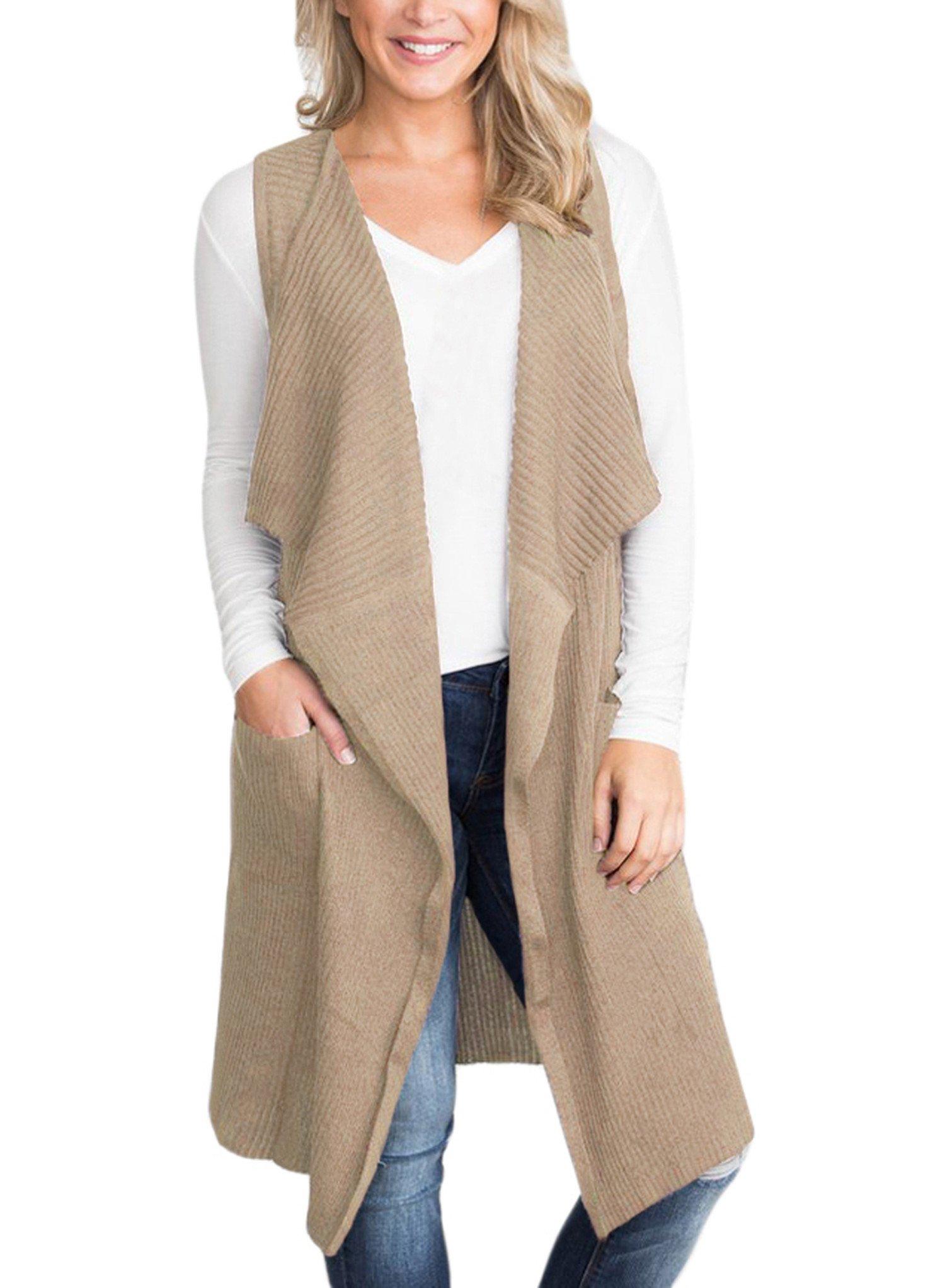 Sidefeel Women Sleeveless Open Front Knitted Long Cardigan Sweater Vest Pocket Small Khaki