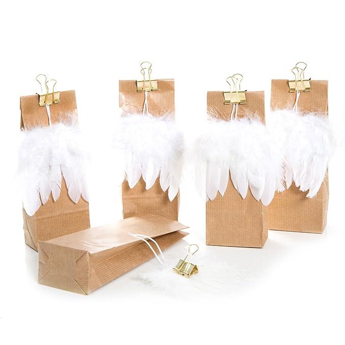 5 bolsas de regalo con alas de ángel y clip de metal dorado ...