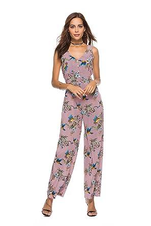 3430800ffc Women s Casual High Waist Wide Leg Jumpsuit Floral Print High Split Long  Pants Rompers Sleeveless (