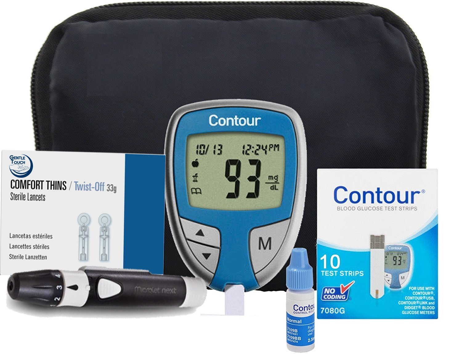 Bayer Contour Complete Diabetic Blood Glucose Testing Kit, Meter, 10 Test Strips, 10 Lancets, Adjustable Lancing Device, Control Solution, Owners Log Book & Manual