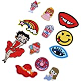 HOUSWEETY Brode Patch Thermocollant DIY Broderie Badge Autocollant Chapeau Vetements Chaussures Emballage Appliques en Tissu Decoration