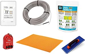 Schluter Ditra Signature Floor Heating Kit -21 Square Feet- Includes WiFi Touchscreen Programmable Thermostat, Heat Membrane, Heat Cable DHEHK12021, Safe Installation Tools, Heat Enhancing Additive