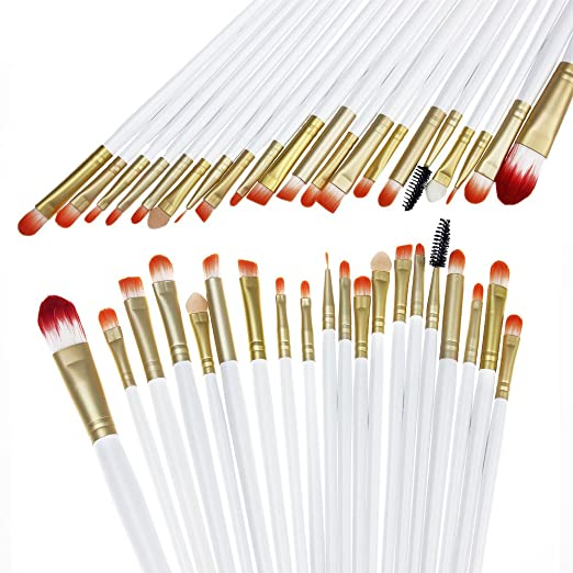 Hotrose® 20 Pcs Cosmetic Makeup Brushes Set Eyeshadow Lip Brush for Women(white-gold)