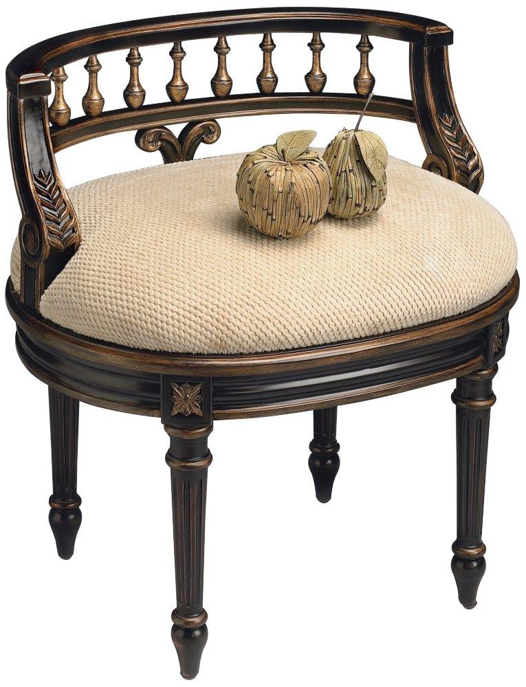 Vanity Seat w Hand Carved Details