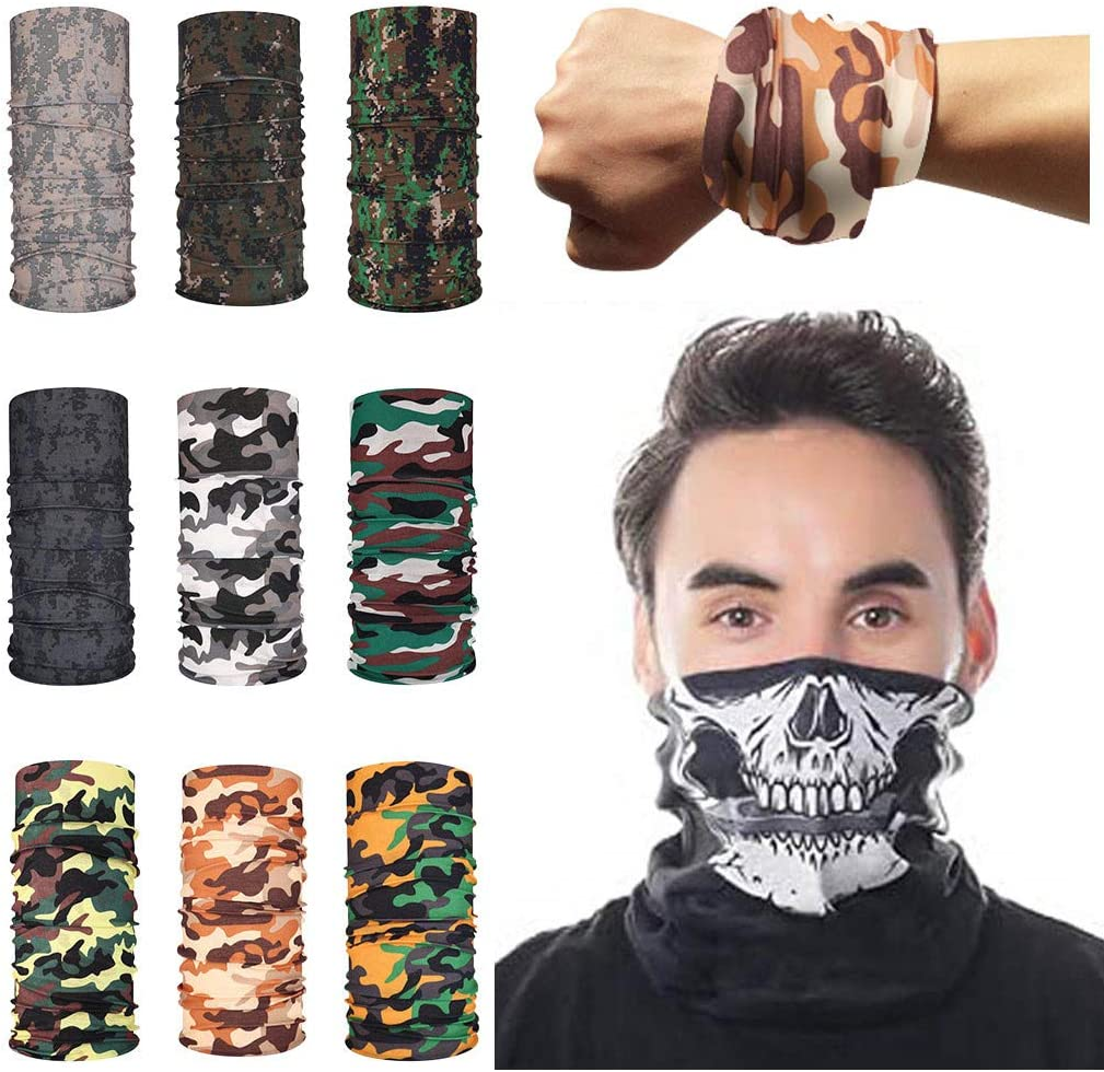 9PCS Magic Scarf Outdoor Headwear Bandanas Sun Protective Tube Sport Face Scarf Workout Hiking Cycling