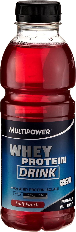 Multipower Whey Protein Drink Ponche de Frutas Bebida Nutritiva - 12 Unidades