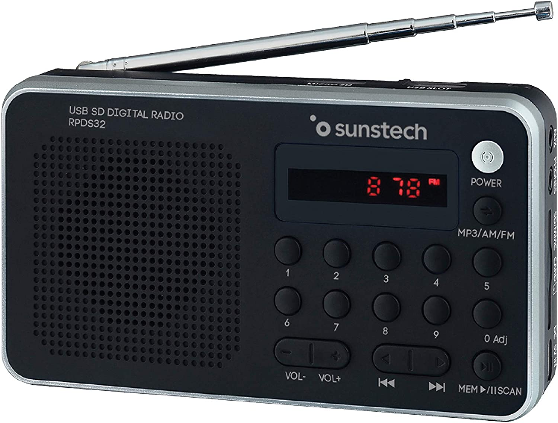 Sunstech RPDS32SL - Radio portátil digital (AMFM PLL, altavoz, USB, SD, MMC, 1.5 W RMS) color plata