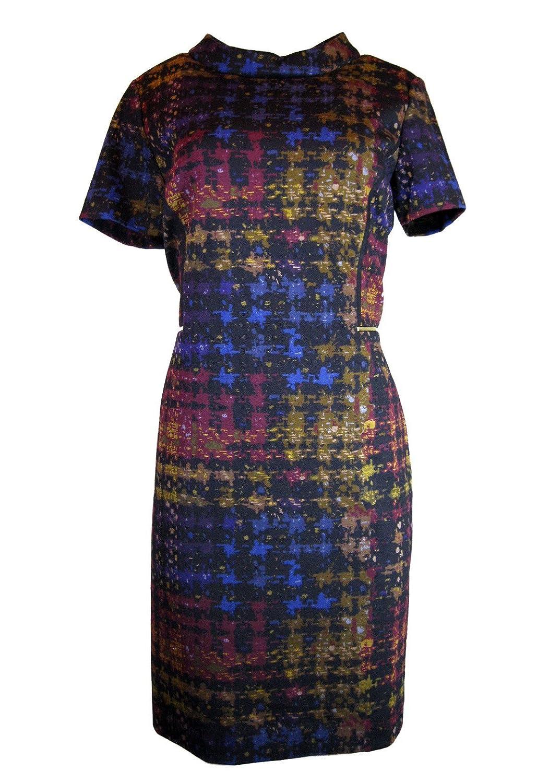 Tahari By ASL Short Sleeve Sheath Dress, Black/duon/iris