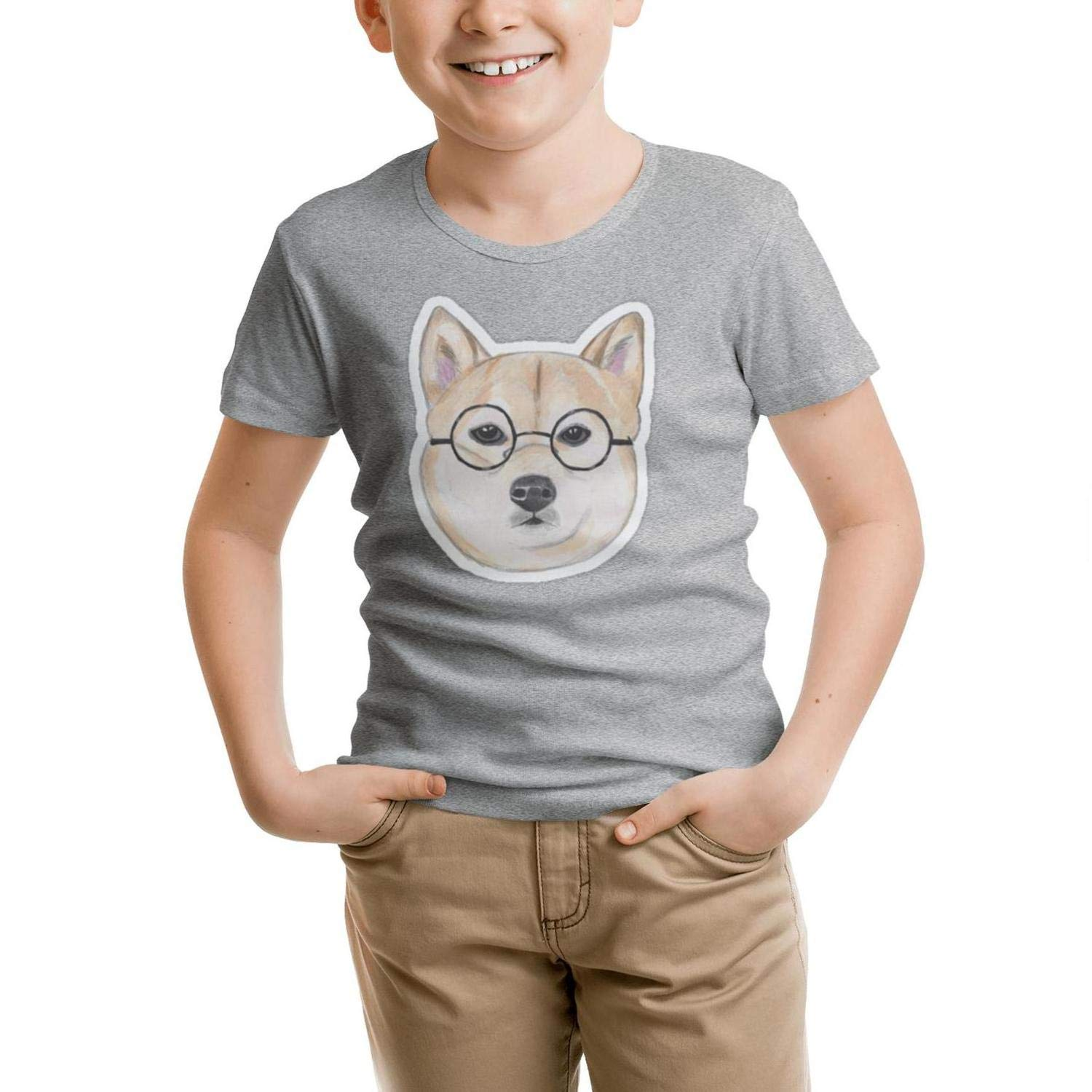 GGTHT Kid's Gray t Shirt Doge Face Glasses O-Neck Short Sleeve Cotton