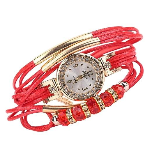 Pulsera del Reloj, K-youth® Reloj de pulsera Cuarzo Brazalete Cuero Trenzado Retro para Mujer Moda Relojes de mujer Baratos y bonitos (Rojo): Amazon.es: ...