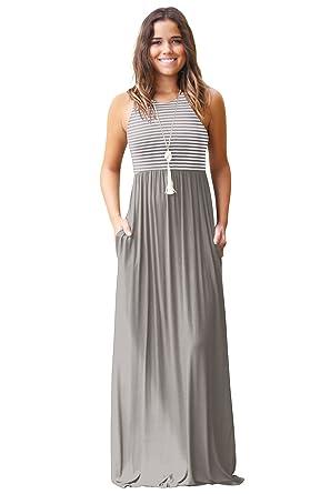 80e80652c670 JYUAN Womens Summer Sleeveless Crew Neck Casual Striped Maxi Dress Tank Long  Maxi Dress with Pockets
