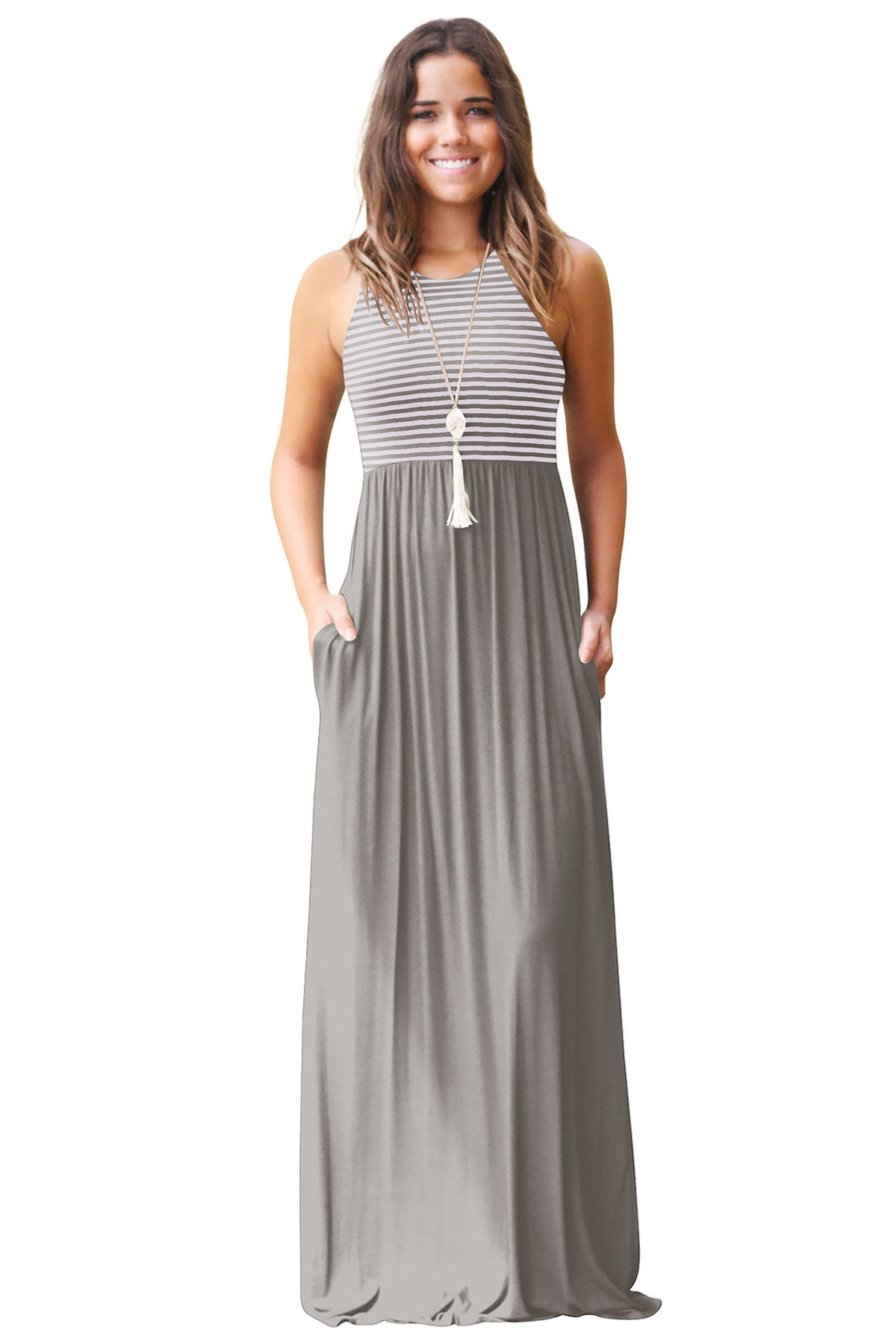 JOXJOZ Women's Sleeveless Racerback Loose Striped Maxi Dresses Casual Long Party Dresses with Pockets (Grey, L)