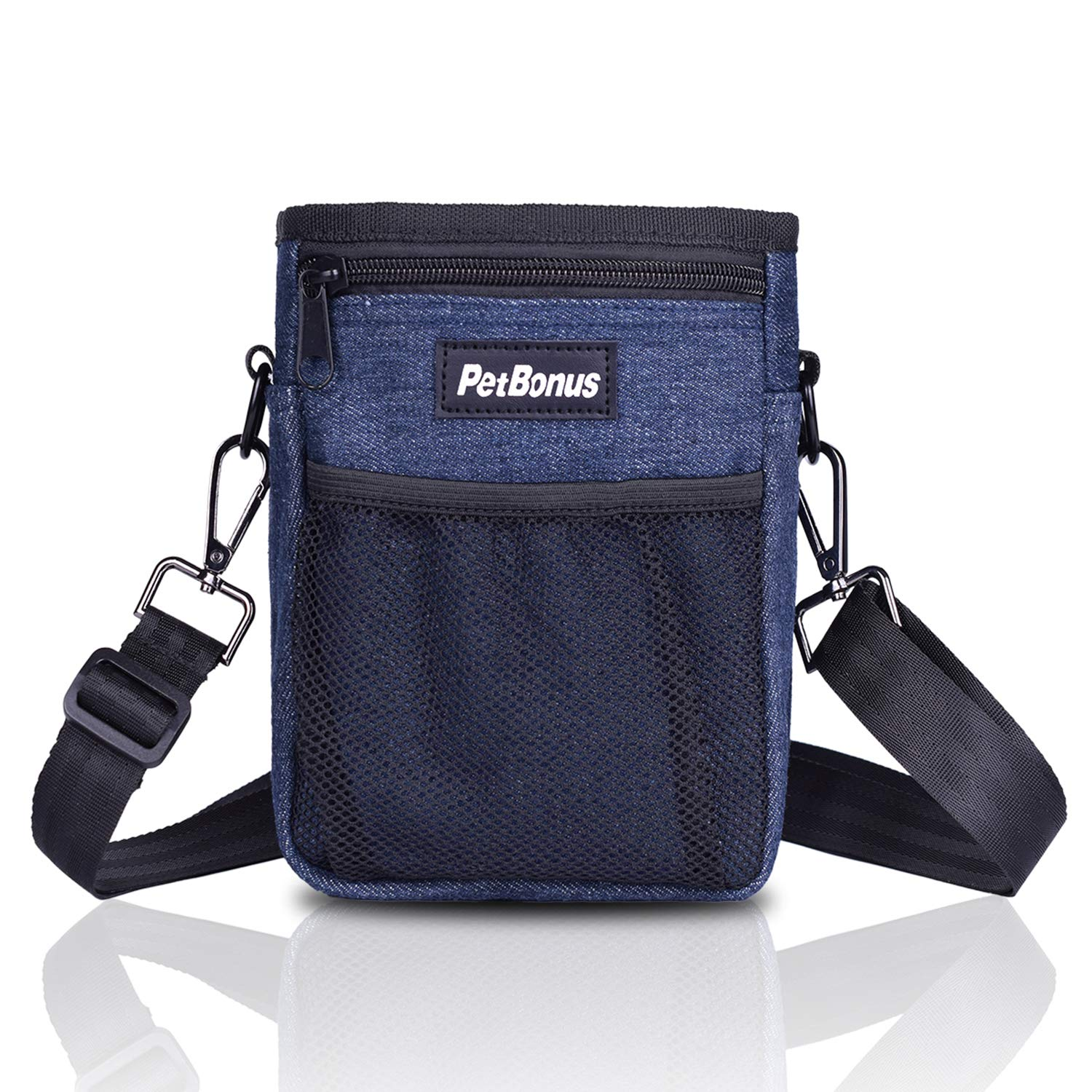 bluee PetBonus Denim Dog Treat Training Pouch, Dog Treats Bag with Built-in Poop Bag Dispenser, Easily Carries Pet Toys, Kibble, Treats 3 Ways to Wear 2 Black Carabiners Included(bluee)