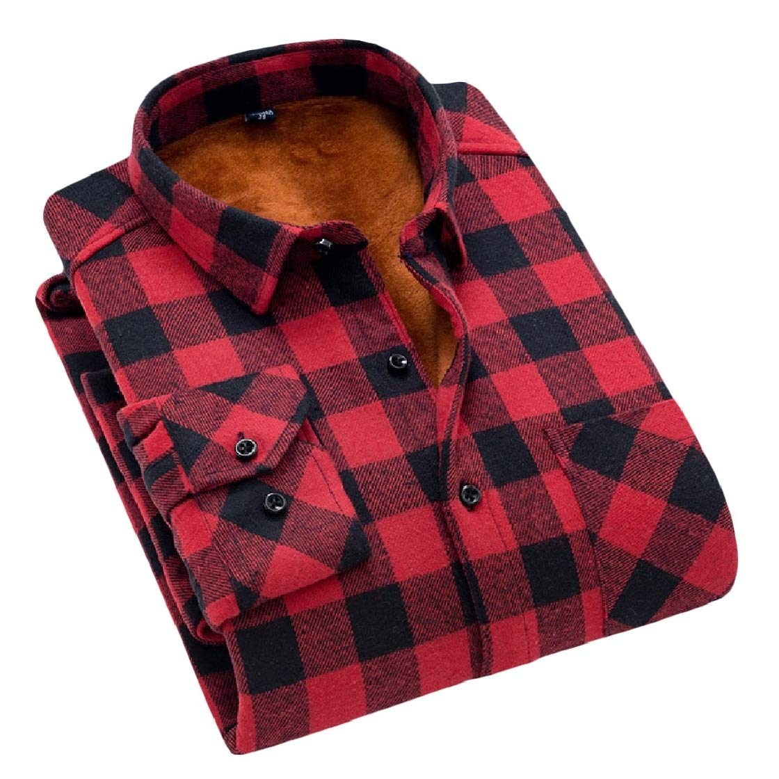 YUNY Mens Plaid Pattern Keep Warm Casual Thick Fall Winter Flannel Dress Shirts AS3 XL