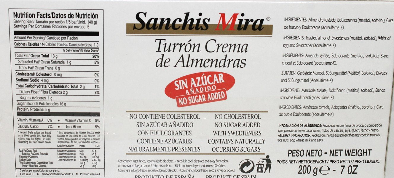 Sanchis Mira Sugar Free Turron de Jijona 7 oz Just arrived from Spain Pack of 6 by Sanchis Mira