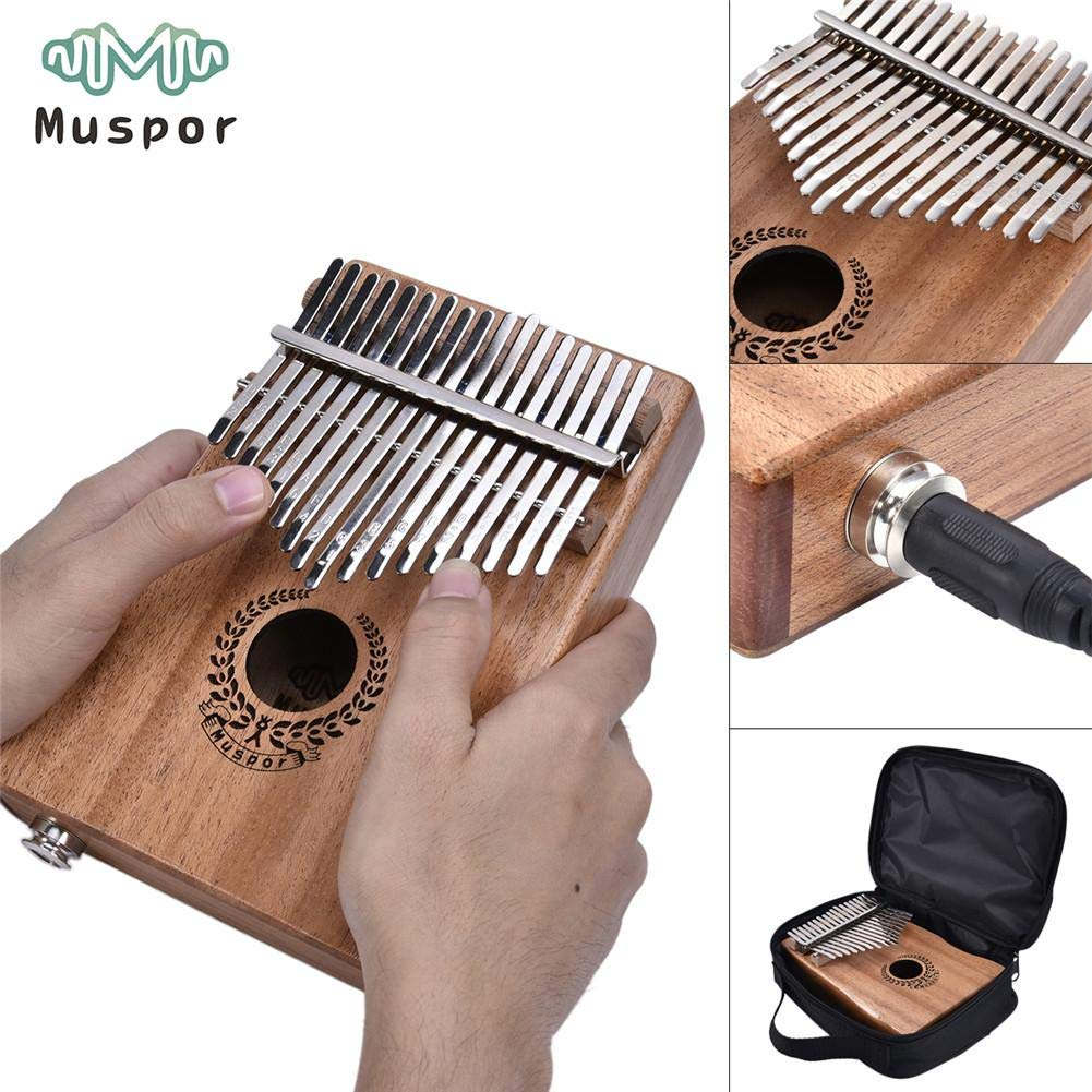 Per 17 Keys Kalimba Portable Thumb Piano Solid Finger Piano Mbira/Marimba Mahogany Body with Tune Hammer&Instruction Beginner Friendly Electric Pickup Bag + Cable by Per (Image #1)