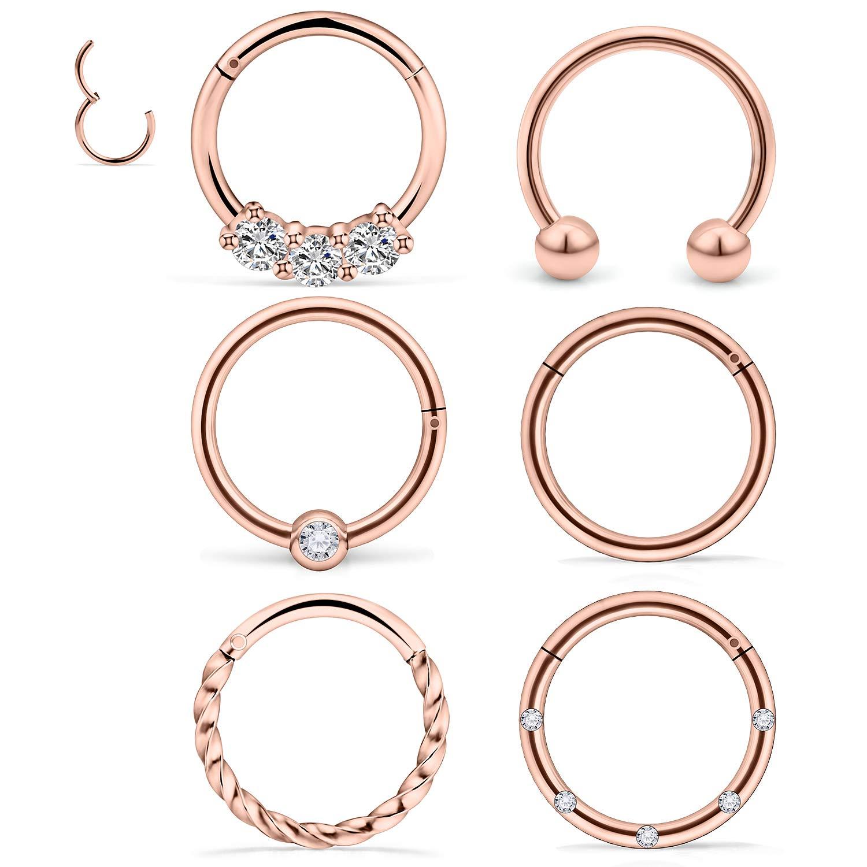 "Steel Open Nose Ring Hoop Earring Piercing 16 Gauge 3//8/"""
