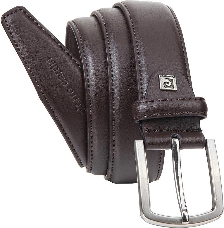 Pierre Cardin Cintur/ón de piel para hombre color marr/ón oscuro