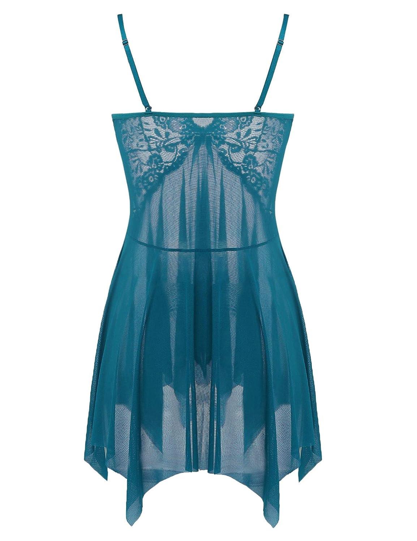 Joyaria Womens Lace Babydoll Sleepwear Mesh Lingerie Chemises Open Front Nighties Set