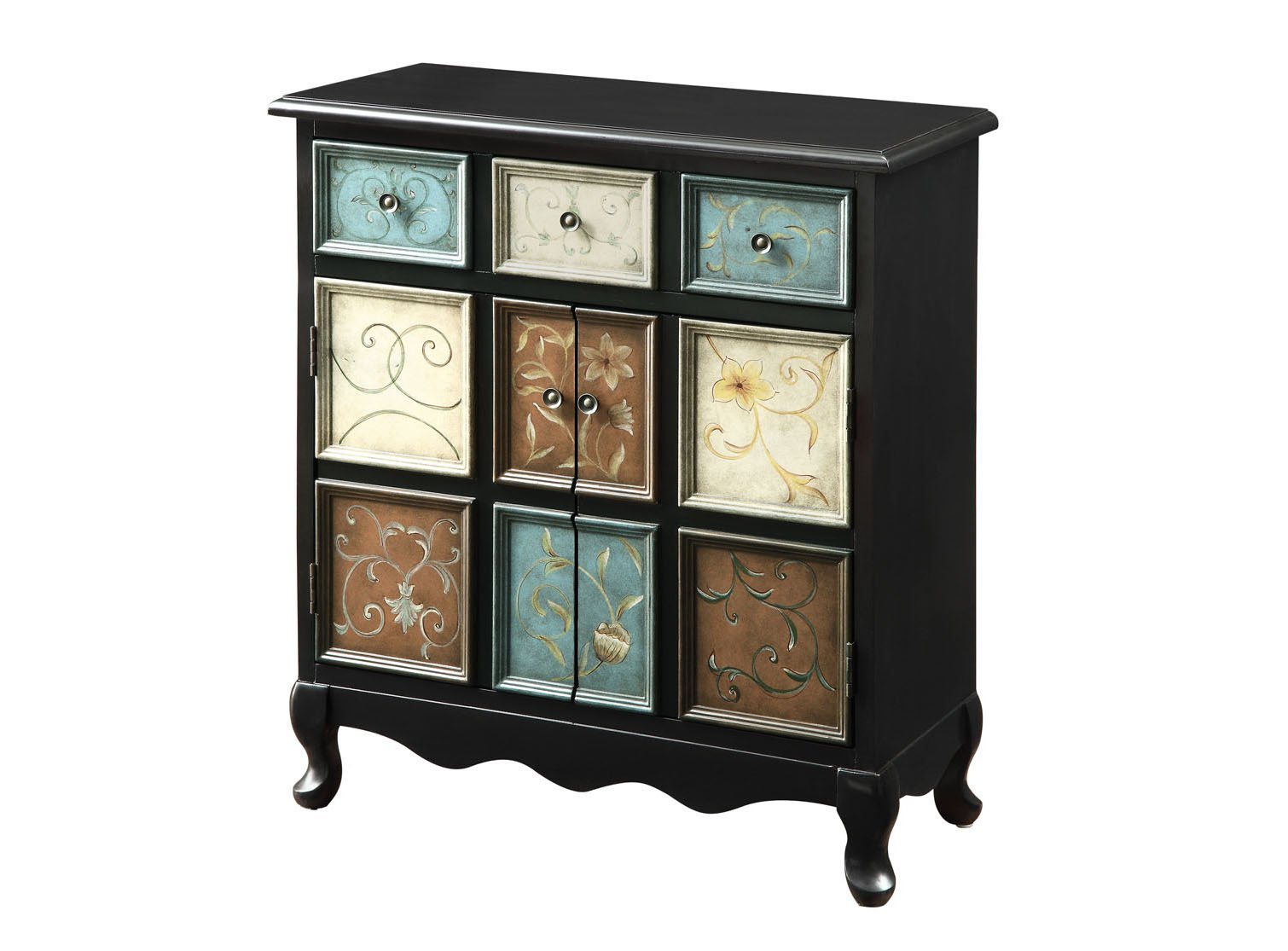 Monarch Apothecary Bombay Chest, Distressed Black/Multi-Color - Elegant transitional shape Made of wood Distressed hand-painted multicolor finish - dressers-bedroom-furniture, bedroom-furniture, bedroom - 71VuWP4s07L -