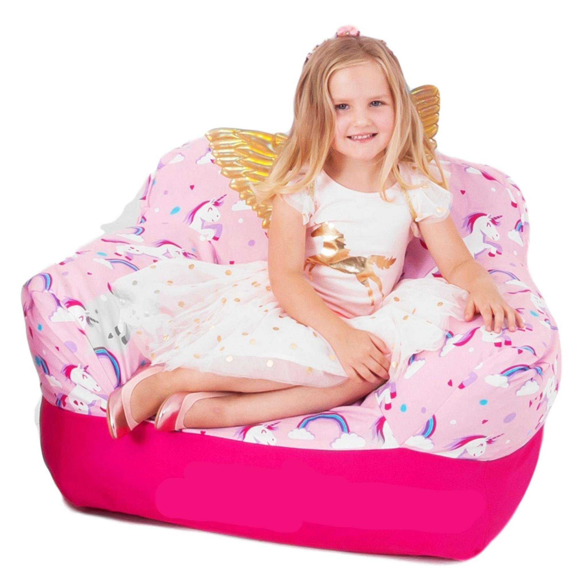 Yayme! Toddler Bean Bag Chair Big Sofa | Bright Pink Unicorn Beanbag with Soft Pure Breathable Cotton Double Beanbag Cover for Children Kids | Bedroom Furniture for Girls