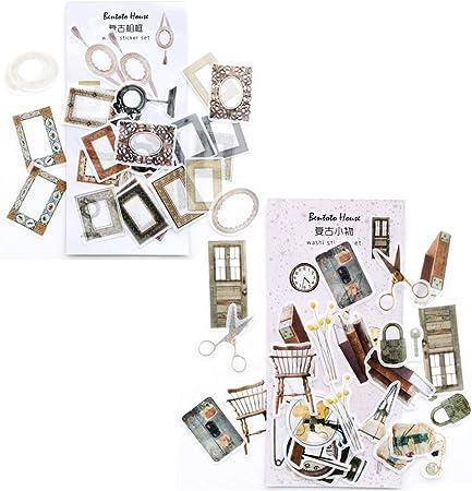 Vintage Pequeñas cosas 38 piezas y marcos de fotos vintage 36 piezas Etiqueta engomada del Diario de Bricolaje,Pegatina Scrapbook Manual de decoración, la Decoración Pegatinas Stickers: Amazon.es: Hogar